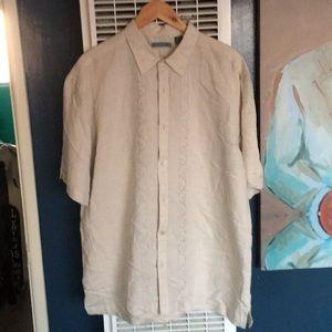 New No Tags Cubavera Khaki Linen Shirt Size XL